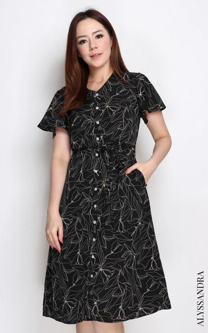 Floral Stencil Flutter Sleeves Dress - Black