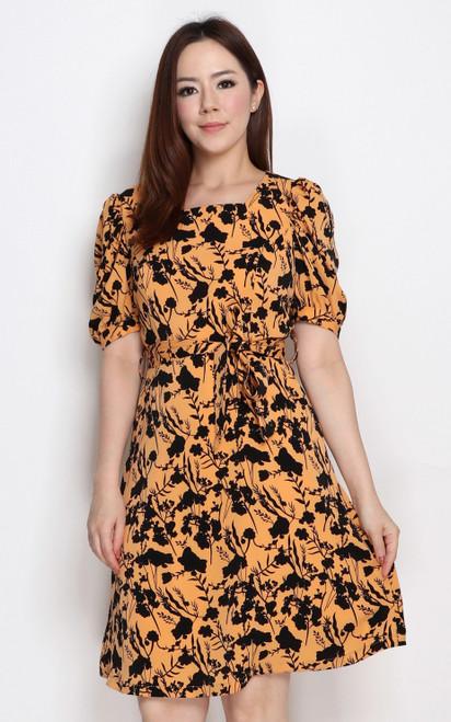 Botanical Print Dress - Honey