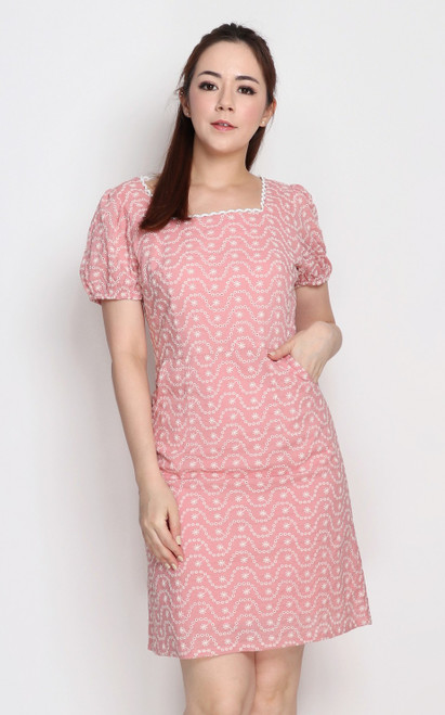 Embroidered Square Neck Dress - Pink