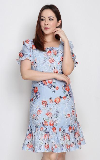 Embroidered Floral Dress - Blue