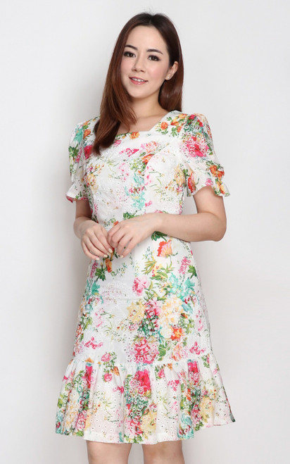 Embroidered Floral Dress - White