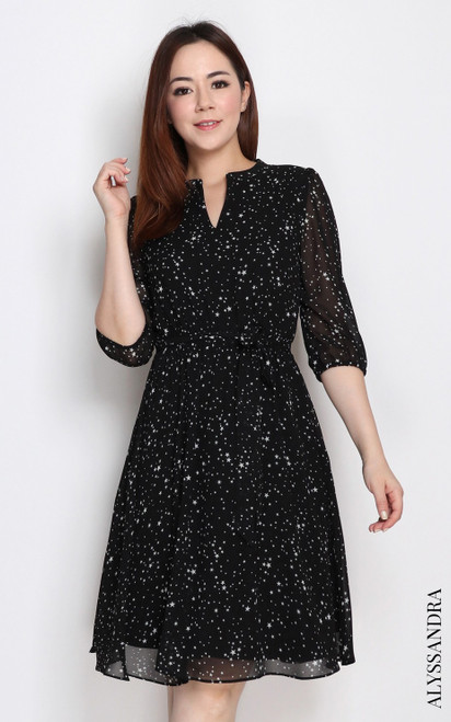 Mandarin Collar Chiffon Dress - Starry Black