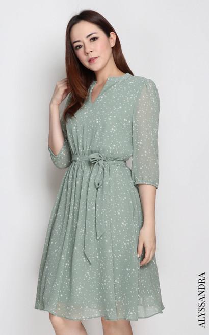 Mandarin Collar Chiffon Dress - Starry Sage