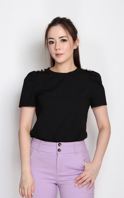 Buttons Tee Top - Black