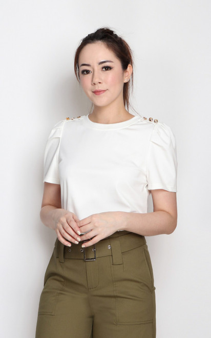 Buttons Tee Top - White