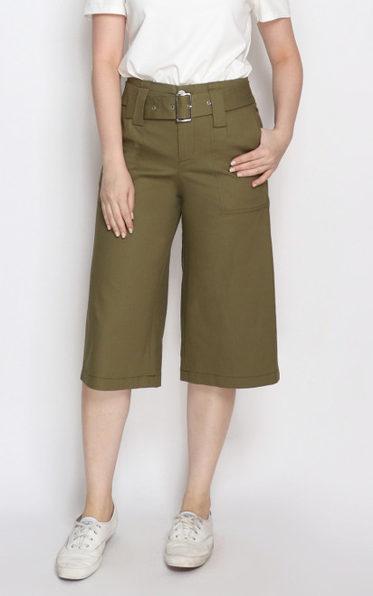 Belted Culottes - Olive