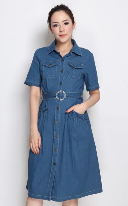 Ruched Pockets Denim Dress
