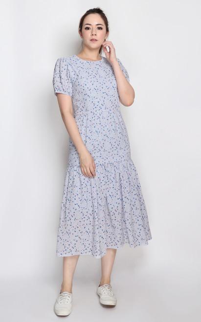 Textured Midi Dress - Blue