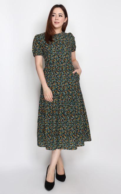Textured Midi Dress - Black