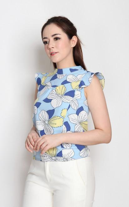 Floral Bib Top - Blue