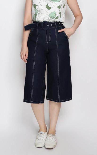 Belted Contrast Stitch Denim Culottes