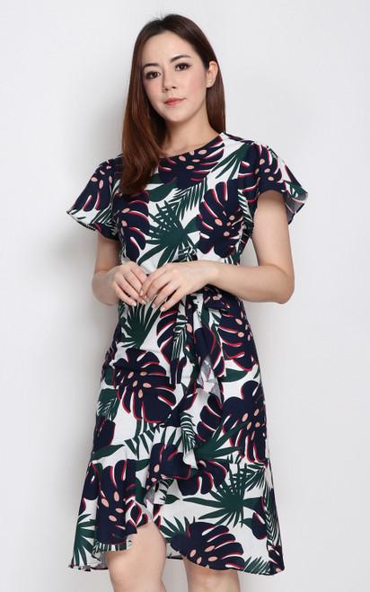 Leaf Print Ruffle Hem Dress - White