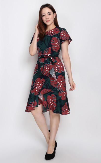 Leaf Print Ruffle Hem Dress - Navy