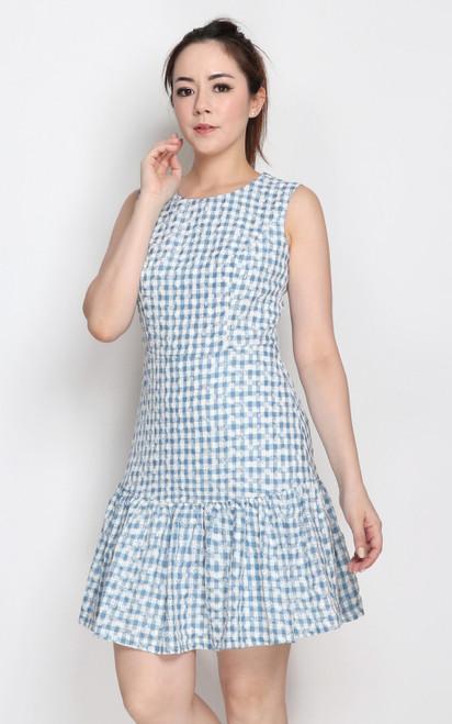 Gingham Print Dress - Blue
