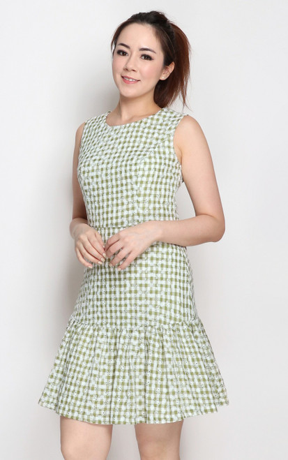 Gingham Print Dress - Green