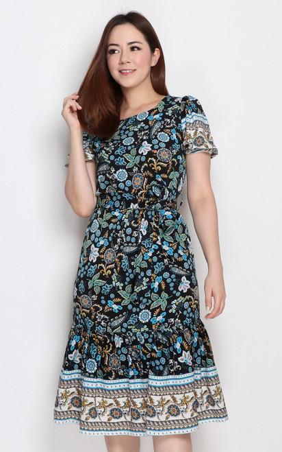 Paisley Floral Print Dress - Black