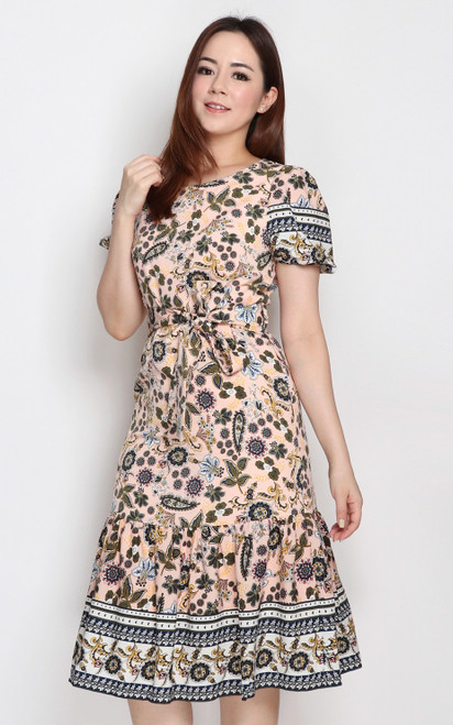 Paisley Floral Print Dress - Apricot
