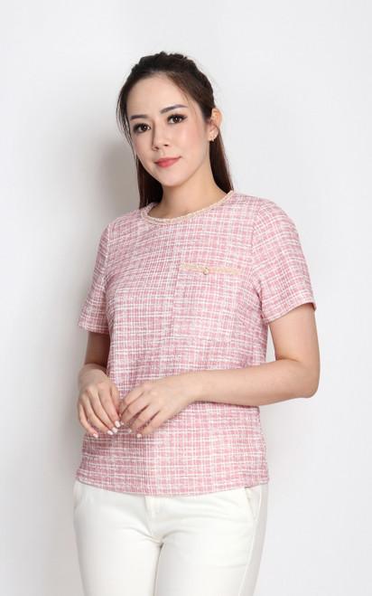Tweed Top - Pink