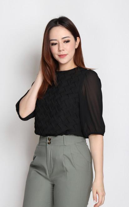 Weaved Chiffon Top - Black