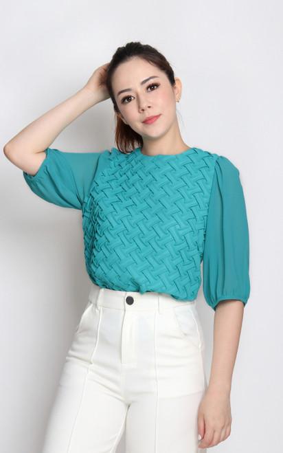 Weaved Chiffon Top - Turquoise