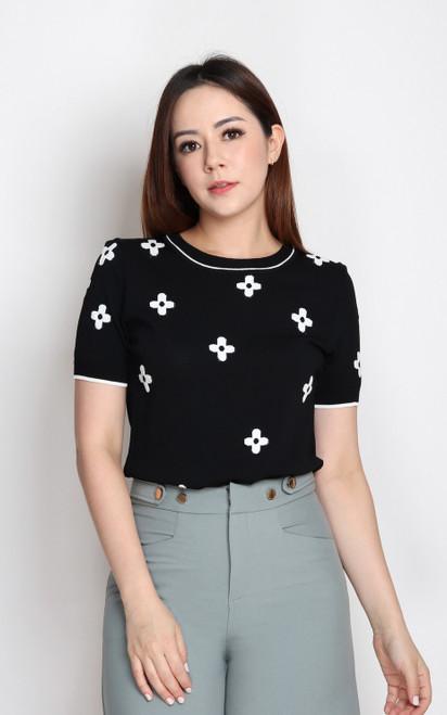 Floral Knit Top - Black