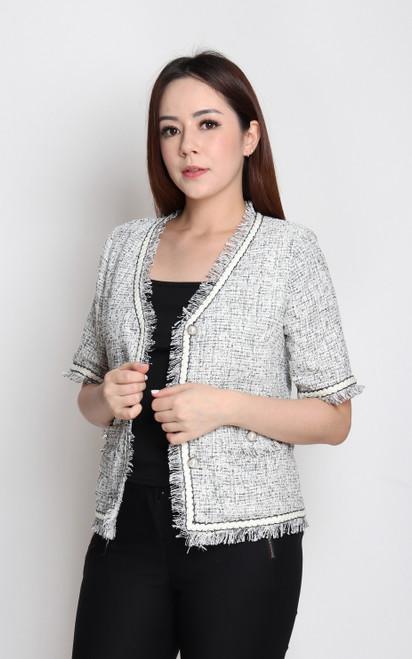 V-Neck Tweed Jacket