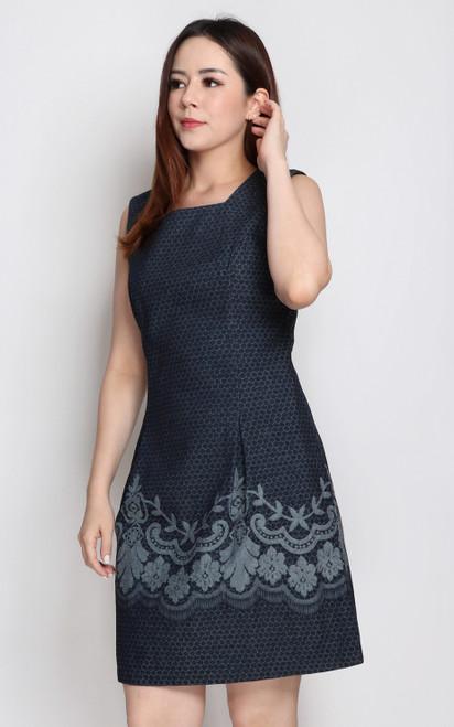 Embossed Denim Dress