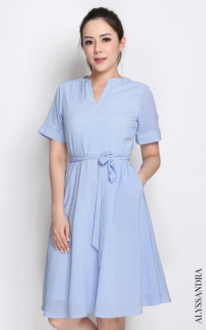 Pinstripe Notch Neck Dress - Blue