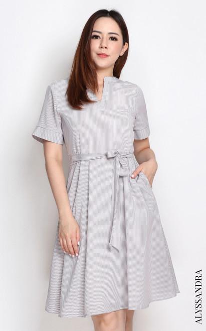 Pinstripe Notch Neck Dress - Taupe