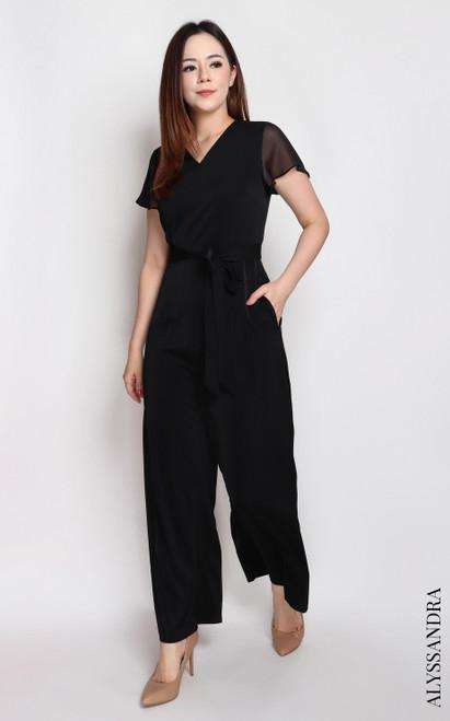 Chiffon Flutter Sleeves Jumpsuit - Black