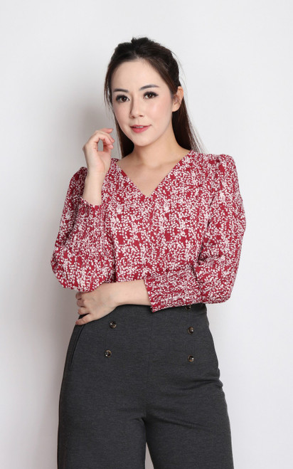 Textured Smocked Cuff Top - Red