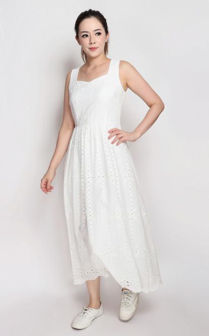 Eyelet Midi Dress - White