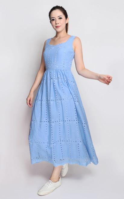 Eyelet Midi Dress - Blue
