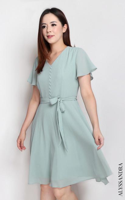 V-Neck Buttons Chiffon Dress - Mint