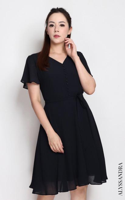 V-Neck Buttons Chiffon Dress - Midnight Blue