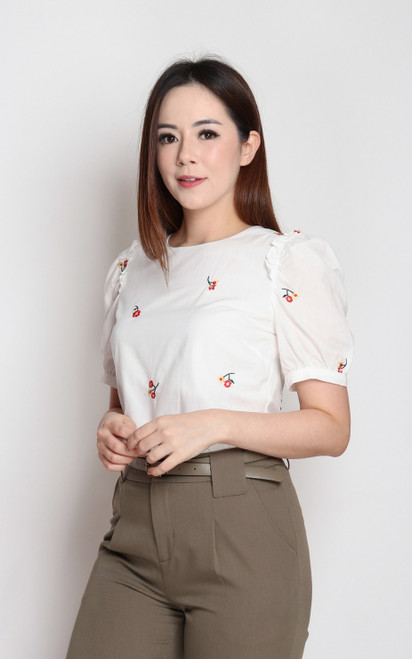 Scattered Embroidery Top - White