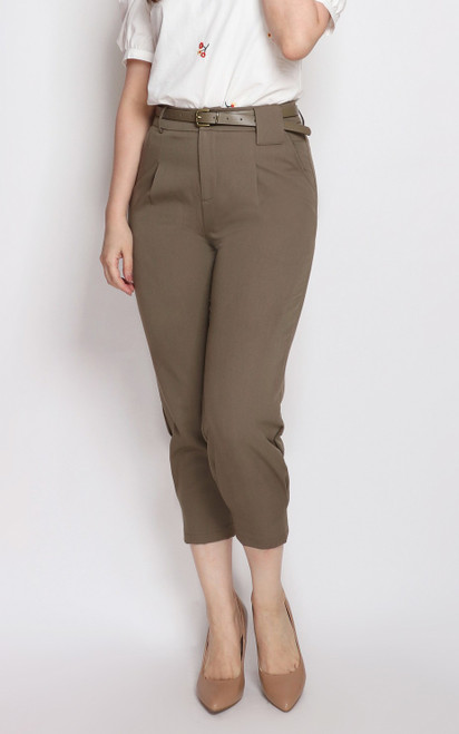 Side Tuck Pants - Taupe