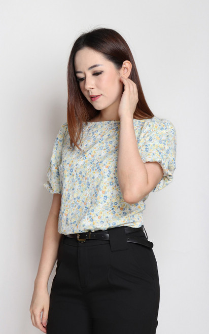 Floral Embroidery Blouse - Green