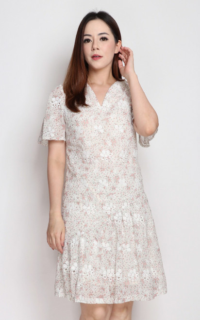 Embroidered Asymmetrical Hem Dress - Cream
