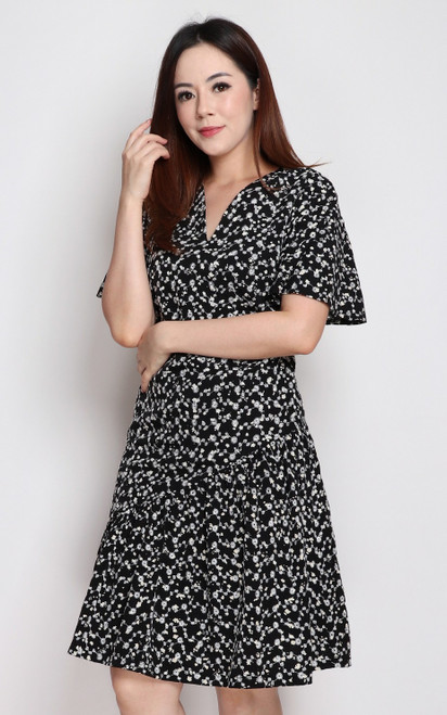 Embroidered Asymmetrical Hem Dress - Black