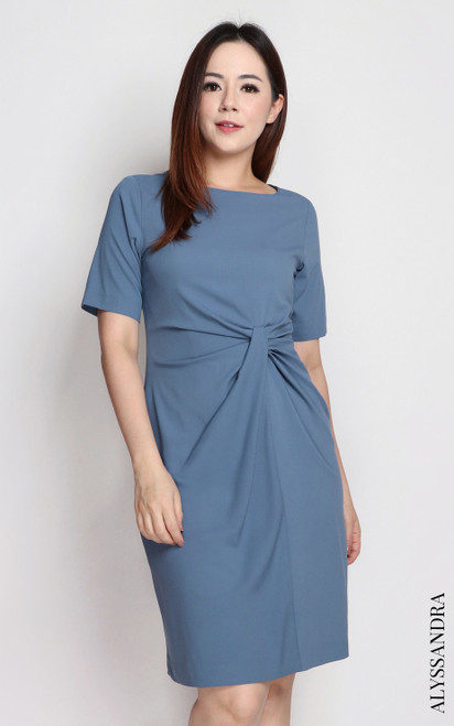 Side Knot Dress - Ash Blue