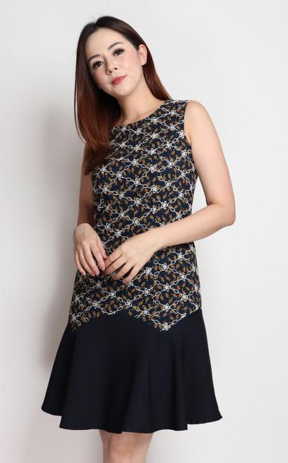 Embroidered Contrast Hem Dress