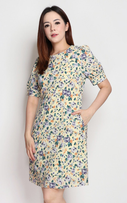 Textured Floral Dress - Yellow