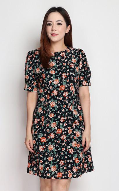 Textured Floral Dress - Navy
