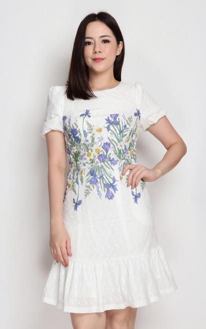 Floral Waist Dress - Blue