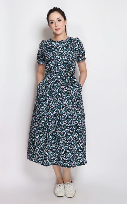 Textured Midi Dress - Navy