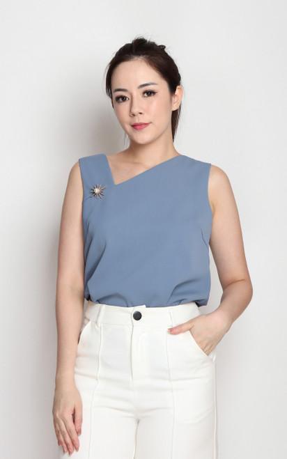 Asymmetrical Neckline Top - Blue