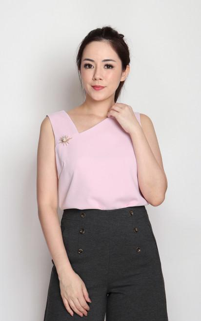 Asymmetrical Neckline Top - Pink