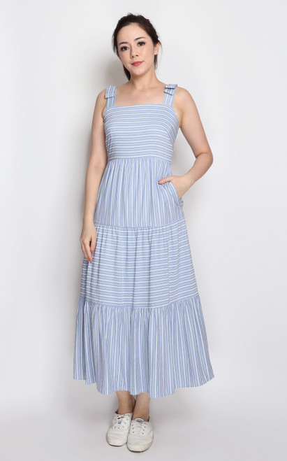 Stripe Tiered Midi Dress - Blue