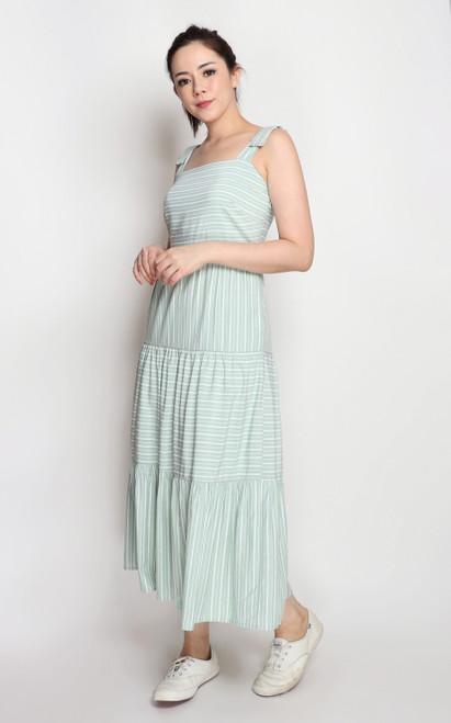 Stripe Tiered Midi Dress - Sage